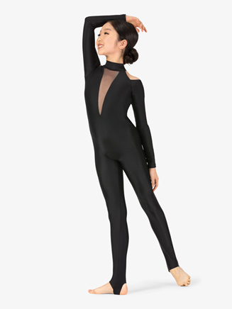 Girls Performance Open Shoulder Stirrup Unitard - Style No N7771C