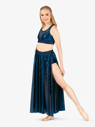 Womens Performance Swirl Sequin Side Slit Skirt - Style No N7797