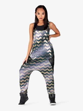 Womens Performance Chevron Print Tank Jumpsuit - Style No N7808