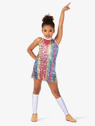 Girls Sequin Halter Babydoll Dance Costume Dress Set - Style No N7812C