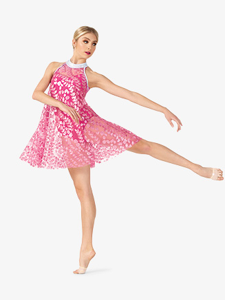Womens Performance Petal Printed Mesh Halter Dress - Style No N7813