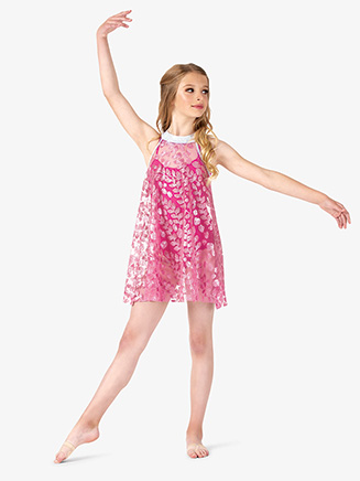 Girls Performance Petal Printed Mesh Halter Dress - Style No N7813C
