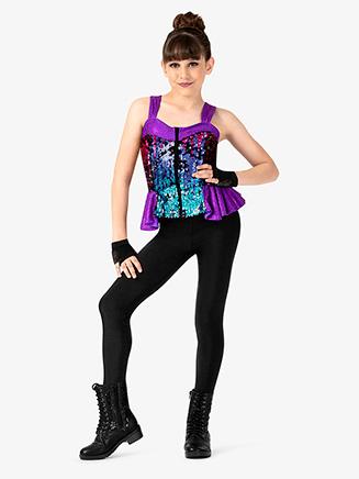 Girls Performance Sequin Zip Up Tank Top - Style No N7814C