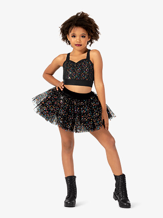 Girls Performance Floral Lace Short Tutu Skirt - Style No N7815C