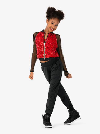 Girls Performance Sequin Zip Up Jacket - Style No N7827C