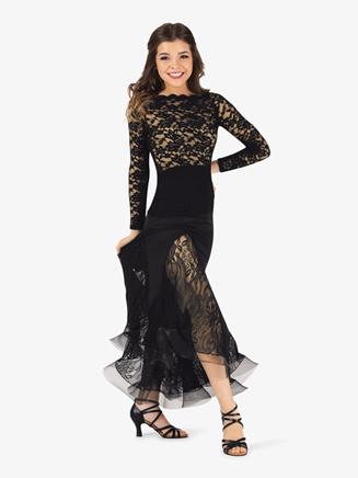 Womens Sheer Lace Long Sleeve Ballroom Top - Style No N7830