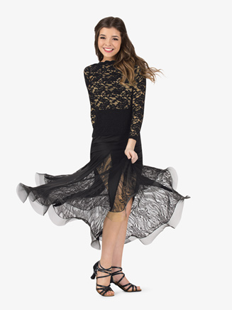 Womens Sheer Lace Panels Ballroom Skirt - Style No N7832