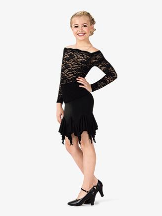 Girls Flare Mid-Length Ballroom Skirt - Style No N7834C