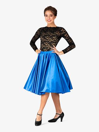 Womens Mid-Length Satin Ballroom Skirt - Style No N7836