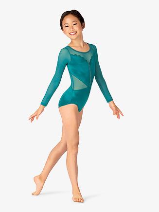 Girls Performance Satin Long Sleeve Leotard - Style No N7853C