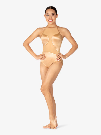 Womens Performance Satin Mesh Back Leotard - Style No N7854