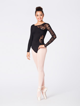 Adult Lace Detail Long Sleeve Leotard - Style No N8650