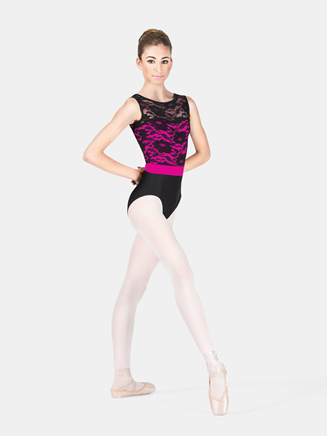 Adult Lace Bodice Two-Tone Tank Leotard - Style No N8790