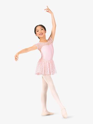 Girls Glitter Heart Mesh Pull-On Ballet Skirt - Style No N8977C