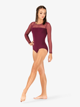 Womens Mesh Yoke Long Sleeve Leotard - Style No N9006