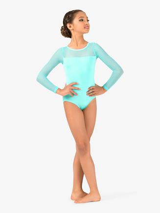 Girls Mesh Long Sleeve Leotard - Style No N9006Cx