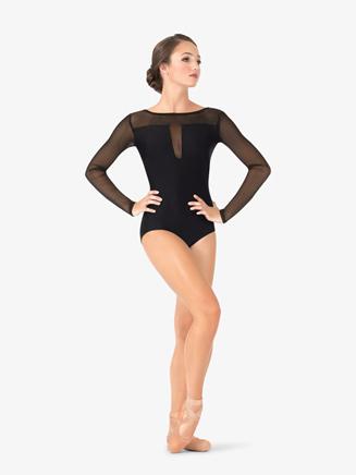Womens Striped Mesh V-Back Leotard - Style No N9031