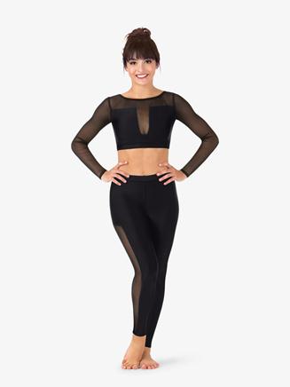 Womens Striped Mesh Dance Crop Top - Style No N9033x