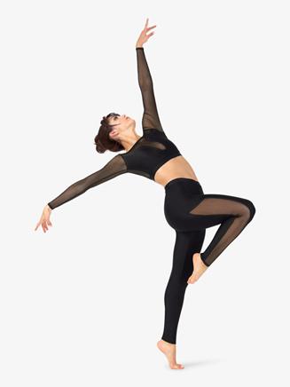 Womens Striped Mesh Full-Length Dance Leggings - Style No N9034