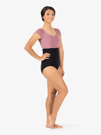 Adult Curvy Fit Cap Sleeve Two-Tone Leotard - Style No N9060x