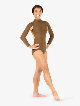 Adult Curvy Fit Long Sleeve Two-Tone Mock Neck Leotard - Style No N9062x