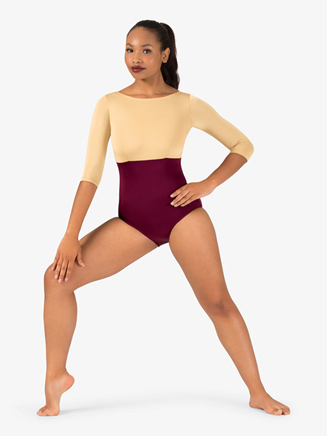 Adult Curvy Fit 3/4 Sleeve Two-Tone Leotard - Style No N9067x