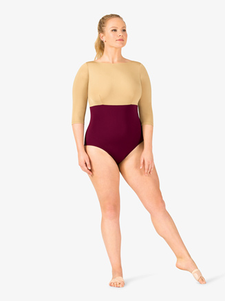 Adult Curvy Fit Plus 3/4 Sleeve Two-Tone Block Leotard - Style No N9067Px