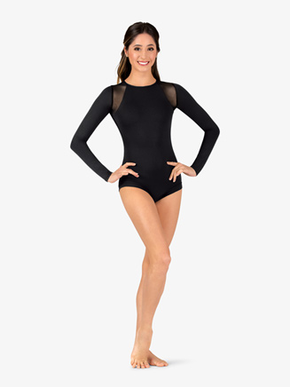 Womens Banded Leg Mesh Long Sleeve Compression Leotard - Style No N9074x