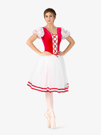 "Girls ""Coppelia"" Short Sleeve Peasant Costume Dress - Style No N9095Cx"