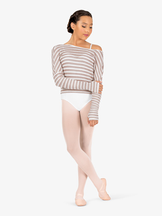 Womens Striped Knit Warm Up Long Sleeve Sweater - Style No N9101x