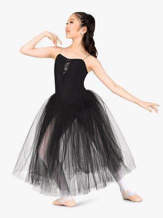 Girls Sequin Insert Juliet Camisole Performance Tutu Dress - Style No N9128C