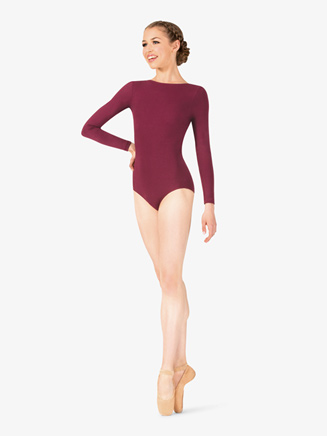 Studio Collection Womens Cotton Low Back Long Sleeve Leotard - Style No N9151