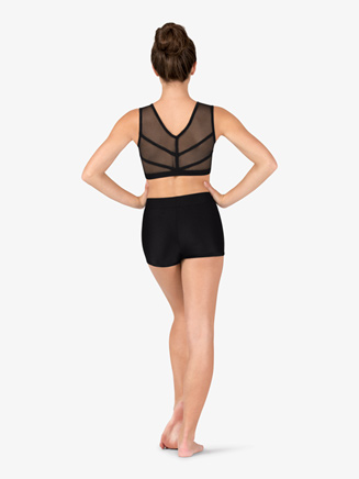 Womens Mesh Binding V-Back Dance Tank Bra Top - Style No NC8912x