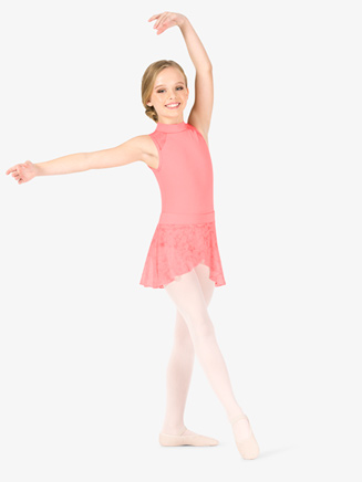 Girls Flower Mesh Mock Wrap Ballet Skirt - Style No NC8928C