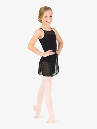 Girls Floral Mesh Wrap Ballet Skirt - Style No NC8931C