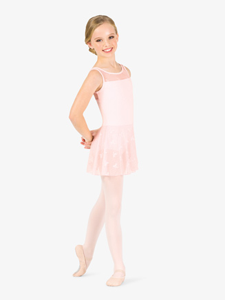 Girls Ribbon Print Mesh Tank Ballet Dress - Style No NC8932C