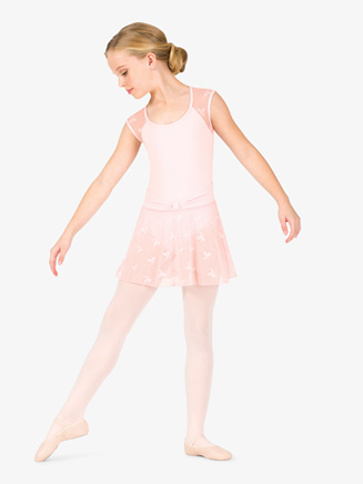 Girls Ribbon Print Mesh Ballet Skirt - Style No NC8935C