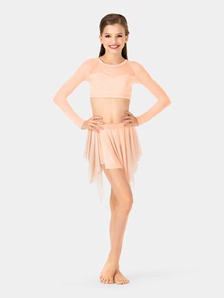 Girls Spiral Hem Mesh Performance Skirt - Style No NL1109