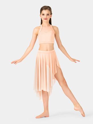 Girls Uneven Hem Mesh Performance Skirt - Style No NL1110