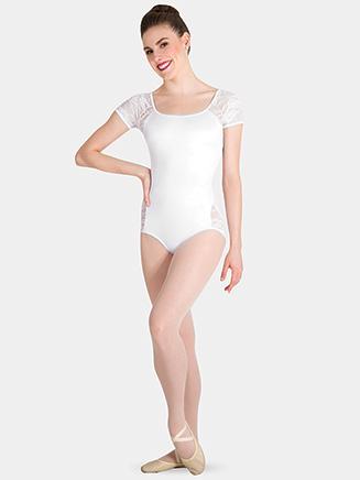 Womens Tiler Peck Floral Lace Short Sleeve Leotard - Style No P1082