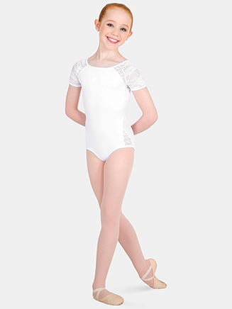 Girls Tiler Peck Floral Lace Short Sleeve Leotard - Style No P1082C