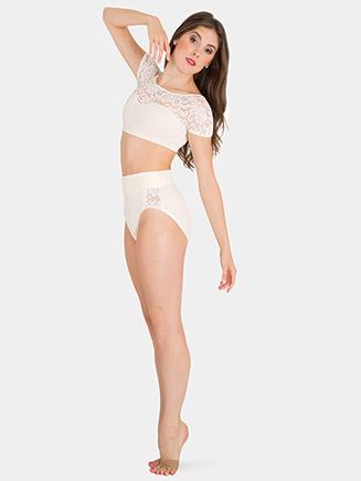 Womens Tiler Peck Lace Cap Sleeve Dance Crop Top - Style No P1102
