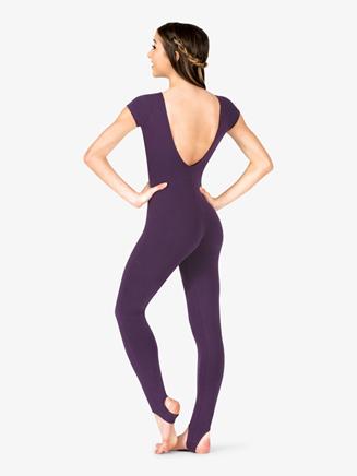 Womens Dance V-Front Short Sleeve Stirrup Unitard - Style No P48x