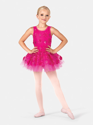Girls Tank 3-D Floral Tutu Costume Dress - Style No PB2008C