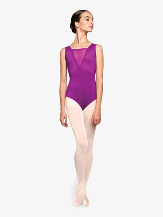 "Womens ""Focused"" Plunging Mesh Tank Leotard - Style No RPCC003"
