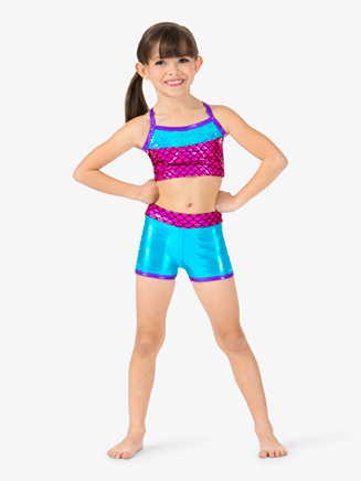 "Girls Metallic ""Mermaid"" Sequins Dance Shorts - Style No ST4826"