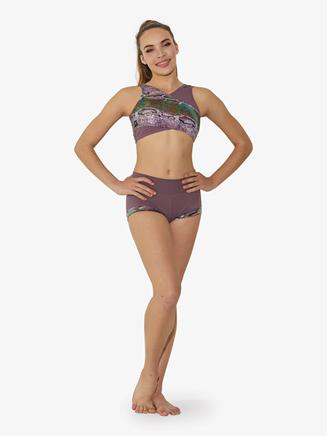 Girls Snakeskin Crisscross Dance Crop Top - Style No ST6660C