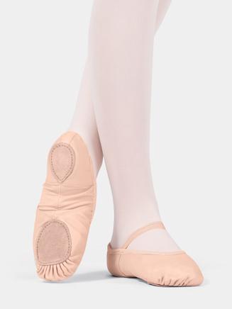 Child Split-Sole Spandex Arch Leather Ballet Slipper - Style No T2800C