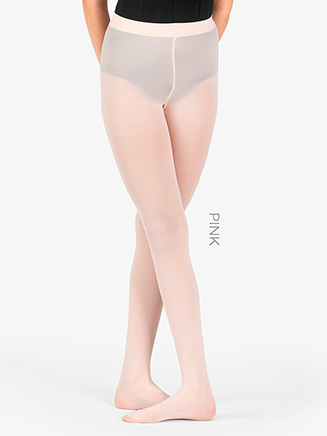 Girls Footed Tights with Smooth Self-Knit Waistband - Style No T5415C
