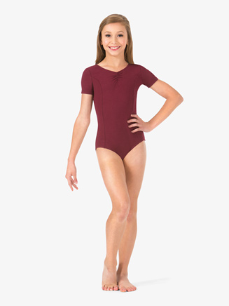 Girls Pinched Short Sleeve Leotard - Style No TH5533C